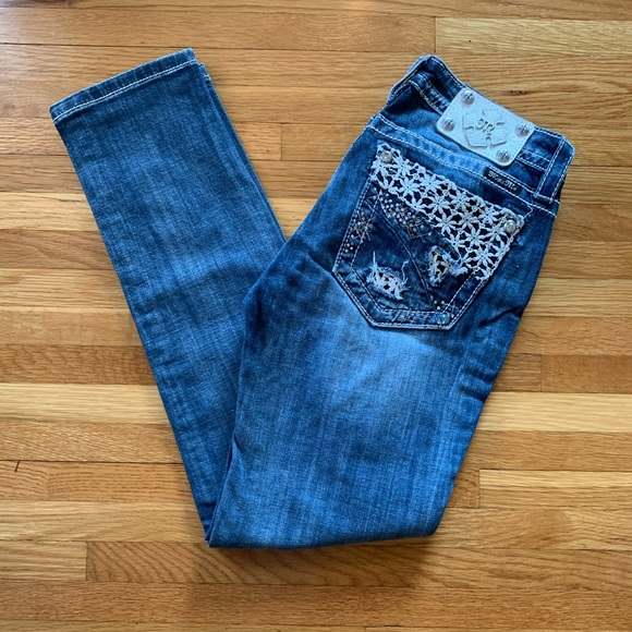 NWOT Miss Me lace bling skinny size 28